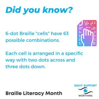 "Did you know? 6-dot Braille ""cells"" have 63 possible combinations (64 if you include no dots at all as a combination).  Each cell is arranged in a specific way with two dots across and three dots down.  #BrailleLiteracy #BrailleLiteracyMonth #Braille #VisuallyImpaired #VisualImpairment #VisionImpaired #Blind #Blindness #SightLoss #PartiallySighted #Worthing #Volunteer #SightSupport #WestSussex #Adur"