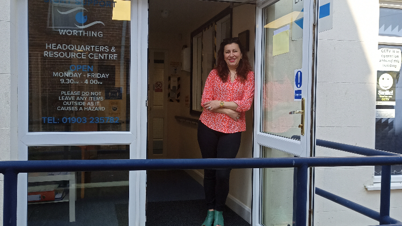 Sonia Baker, General Manager of Sight Support Worthing, outside the Centre in Rowlands Road