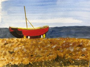 Painting of a boat on Worthing seafront