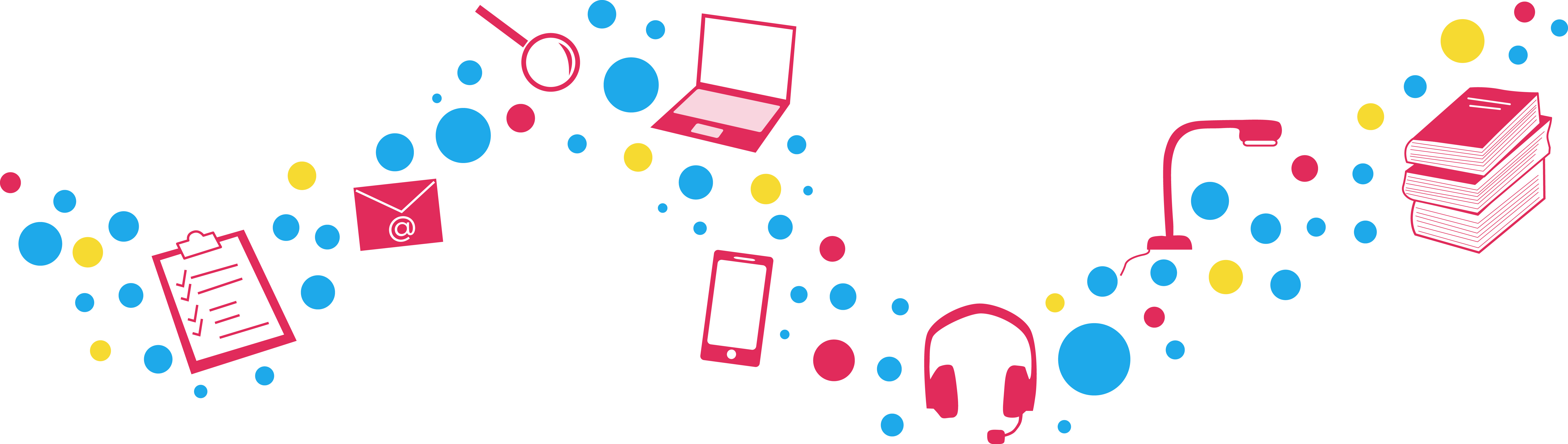 Different icons in a wavy line with bubbles in pink, blue and yellow