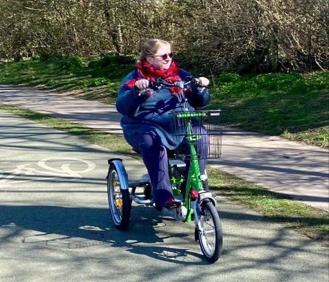 A Van Raam EasyGo Trike being used at Brooklands Park Worthing