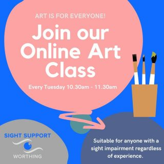 Have you joined our Art Group yet? We meet online every Tuesday at 10.30-11.30am. All skill levels and ages are welcome! To find out more give Roz a call on 01903 235782 or email her at roz@sightsupportworthing.org.uk.  #ArtGroup #VisuallyImpaired #VisualImpairment #VisionImpaired #Blind #Blindness #SightLoss #PartiallySighted #Worthing #Volunteer #SightSupport #WestSussex #Adur
