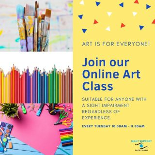 If the arrival of Spring is making you feel creative, why not join our online Art Group?  We meet online every Tuesday at 10.30-11.30am. All skill levels and ages are welcome. To find out more give Roz a call on 01903 235782 or email her at roz@sightsupportworthing.org.uk.  #ArtGroup #VisuallyImpaired #VisualImpairment #VisionImpaired #Blind #Blindness #SightLoss #PartiallySighted #Worthing #Volunteer #SightSupport #WestSussex #Adur