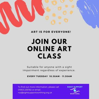 Paintbrushes at the ready!  Our online art class takes place every Tuesday at 10.30am Whether you're a beginner or an experienced artist, we welcome you all!  Suitable for those with a visual impairment, regardless of age or location. Get in touch with us to book your place.  #OnlineArtClass #ArtClass #VisuallyImpaired #VisualImpairment #VisionImpaired #Blind #Blindness #SightLoss #PartiallySighted #Worthing #Volunteer #SightSupport #WestSussex #Adur