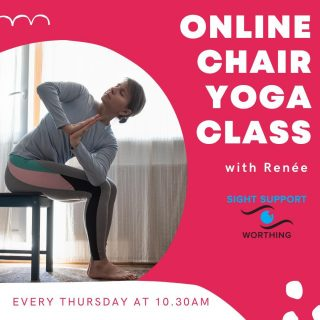 Have you tried our fantastic (and free!) online chair yoga class yet? It takes place every Thursday at 10.30am, and is open to anyone with a visual impairment. The session is led by Renée, an experienced yoga teacher. You can take part seated or standing depending on your preference. For more information or to book your place, get in touch!  #VisuallyImpaired #VisualImpairment #VisionImpaired #Blind #Blindness #SightLoss #PartiallySighted #Worthing #Volunteer #SightSupport #WestSussex #Adur #Yoga #ChairYoga